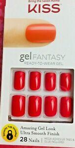 KISS Gel Fantasy 28 Nails Glue/Press-On WHATEVER Red 60672 KGN10