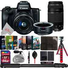 Canon EOS M50 Mirroless Camera w/ 15-45mm + Adapter + 75-300mm Lens Bundle