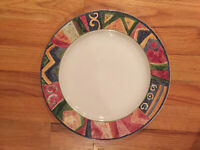 "Sakura Malage by Sue Zipkin Genuine Stoneware 10-7/8"" dinner plates VINTAGE EUC"
