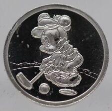 Mickey Minnie Mouse Golfing 999 Silver Medal 1/20 oz Round - Golf Disney - JB322