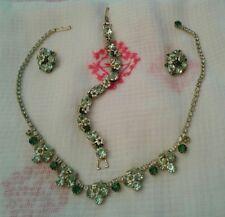 VTG Weiss Green Rhinestones Enamel Daisy Necklace Bracelet Earrings 3 Parure Set