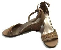 """Impo Women's Tan W/Multi-Colored Dots-Peep Toe-Ankle Strap-3"""" Wedge Size 10"""