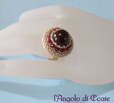 ANELLO regolabile artigianale perla DIASPRO ROSSO Swarovski perline Miyuki
