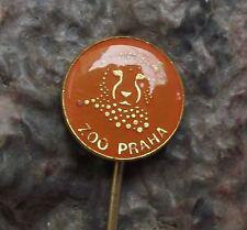 Antique Prague Zoo Praha Spotted Cheetah Cat Head Czech Safari Park Pin Badge