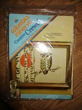 New listing Columba Minerva Crewel Sunset Owl Picture Embroidery Kit Erica Wilson Wool Yarn