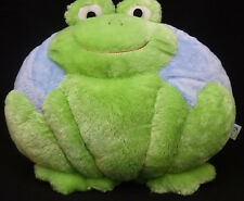 "Happy Frog Throw Pillow Home Decor Blue Green Plush 12"" X 12"" Dry Ice Brand"