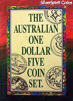 1984-1992 $1 AUSTRALIAN ONE DOLLAR 5 COIN SET