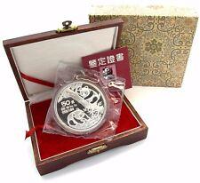 China 50 Yuan Panda Münze 1990 Silber PP Silbermünze 5 Unzen mit Etui & COA