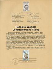 20 cent ROANOKE VOYAGES 1984 SOUVENIR PAGE SCOTT # 2093 SP651 HISTORICAL EVENTS
