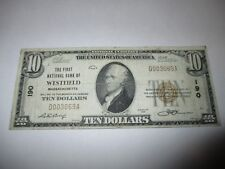 $10 1929 Westfield Massachusetts MA National Currency Bank Note Bill! #190 VF!
