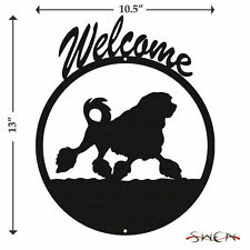Swen Products Lowchen Dog Black Metal Welcome Sign