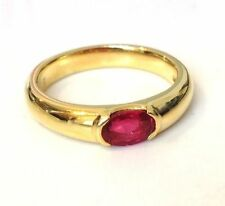 Solitaire Ruby Yellow Gold Oval Fine Gemstone Rings