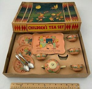 ANTIQUE CINDERELLA TOY TIN LITHO TEA SET ORIGINAL OHIO ART BOX VINTAGE BRYAN OH