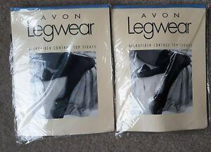 2 pair Avon Legwear Microfiber Control Top Tights Dark Brown sz A