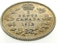 1912 Canada Five Cents Small Silver Canadian Circulated George V Coin M839