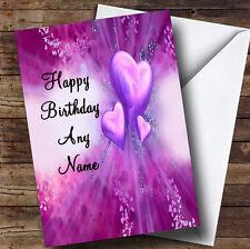 Purple Hearts Romantic Personalised Birthday Greetings Card