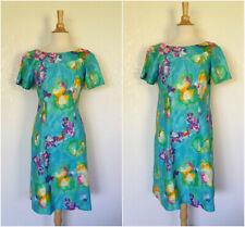 "Vtg 60s turquoise satin sheen Alice Polynesian Hawaiian beach mu mu dress b 38"""