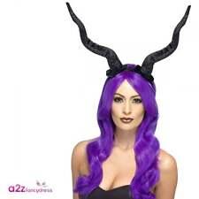 Demon Horns Lady Raven Adult Halloween Fancy Dress Costume Accessory