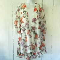 New Emory Park Kimono Cardigan 3X 3XL Off White Floral Caley Open Stitch Fix
