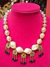 Rare Vintage Designer Gripoix Necklace - Large Cabochons  w/ Pendants