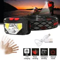 USB Rechargeable Intelligent Sensing LED Headlamp Outdoor Highlight Fishing IPX6