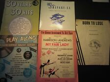 5 sheet music booklets for piano,30 hits,Shangri-la,My Fair Lady,Born to Lose