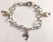 bracelet argenté 19,5cm 3 dauphins 17x10 mm