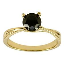 2CT ROUND CUT BLACK DIAMOND SOLITAIRE ENGAGEMENT RING 14K YELLOW GOLD