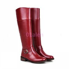 Lady Womens Vintage Flat Oxford SIde Zip Knee HIgh Long Riding Faux Leather Boot