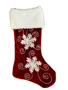 18 In Red White Velvet snowflakes Christmas Stocking