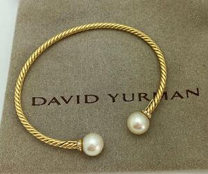 David Yurman Solari 18K Yellow Gold Pearl Diamond Medium Bangle Bracelet Y500