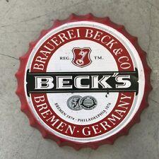 BECKS Beer Lager Vintage Wall Sign Retro Tin Plaque Bar Man Cave Bottle Top Sign