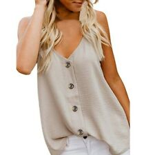 Women Summer V-neck Vest Sleeveless Button Cami Tee Shirt Blouse Casual Tank Top