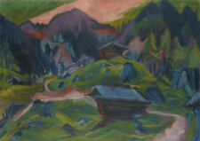 Ernst Ludwig Kirchner: Mountain and Two Sheds. Fine Art Print/Poster