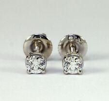 Diamond stud earrings 14K white gold G VVS2 VS1 round brilliant .40CT screw back