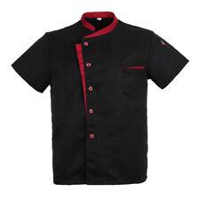 Unisex Chef Jacket Coat Short Sleeves Shirt Hotel Kitchen Uniform Black