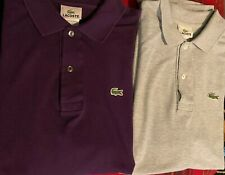 Lacoste Short Sleeve Polo Shirts (x2) Grey Purple Mens Size 6 Lot Worn