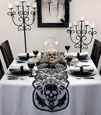 "Goth Grim Reaper Skull & Bats Black Lace Halloween Table Runner 72""x 14"""