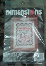 "Dimensions Cross Stitch Kit Faith, Hope & Love  by :Vera Klein  3""x4"" # 6581 New"