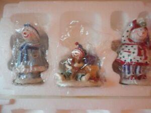"Wintree Christmas Eve by Ingrid ""Under The Mistletoe""  3 Pc Snowmen Set  '98"