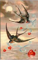 Antique Valentine~BARN SWALLOWS SOAR OVER LAKE~MOONLIGHT~EAS Postcard~Germany