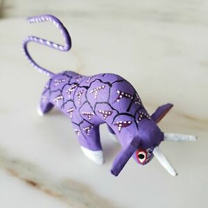 BULL Purple Alebrije Oaxacan Hand Painted Wood Carving