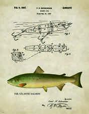 Fishing Lure Patent Poster Art Print Antique Atlantic Salmon Reels Fish PAT217
