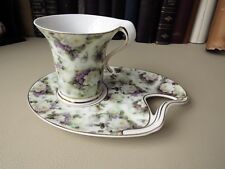 The Leonardo Collection - Cake Tray & Cup,  Roses And Violet Flower Decoration