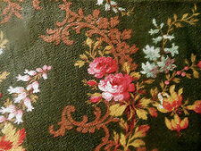 Antique French Floral Roses Scroll Cotton Fabric ~ Deep Pink Gold on Olive 19thc