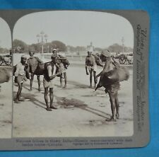 Stereoview Photo India Bheestis Water Carriers Leather Bottle Calcutta Underwood