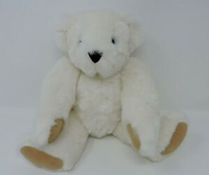 """Vermont Teddy Bear White Jointed Blue Eyes 16"""" Soft Toy"""