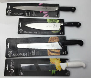 Mercer Culinary, Lot of 4 Kitchen Knives; (2) Chef's Knives, Carver, Bread Knife
