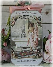 """""""Evolution in Baths"""" Vintage Shabby Chic Country Cottage style - Wall Decor Sign"""