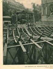 Document ancien travaux du Métropolitain à Paris issue de magazine 1906